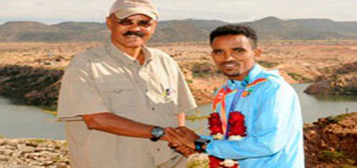 President Isaias congratulates Athlete Ghirmai